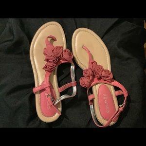 St. Johns Bay® Koi Thong Sandals w/ Rosettes